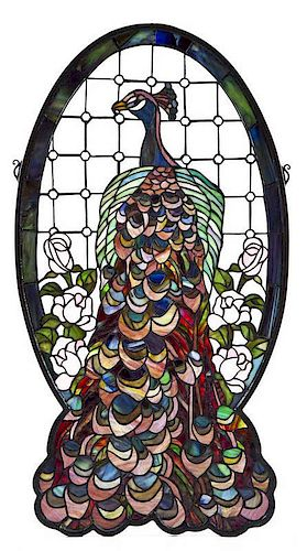 Stained Glass Peacock Panel