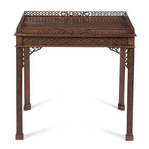 * A Chippendale Style Mahogany Tea Table Height 30 x width 30 1/2 x depth 21 1/4 inches.