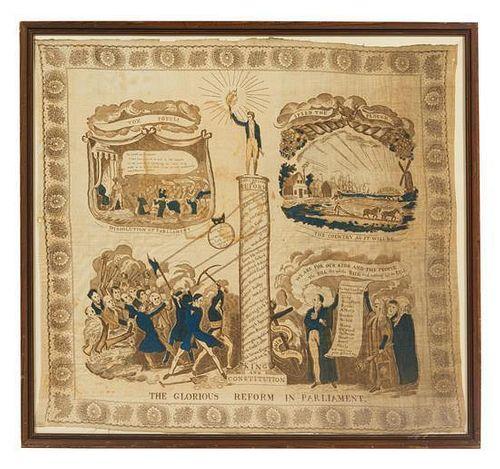 An English Silk Political Handkerchief 29 1/2 x 31 1/2 inches.