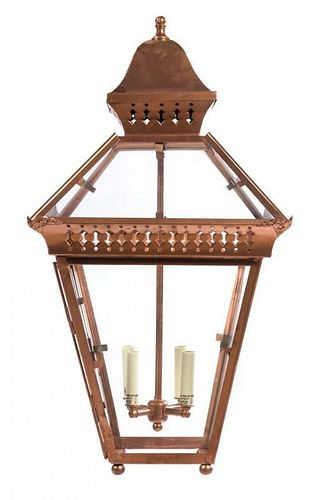 A Pair of Large Victorian Style Copper Lanterns Height 33 inches.