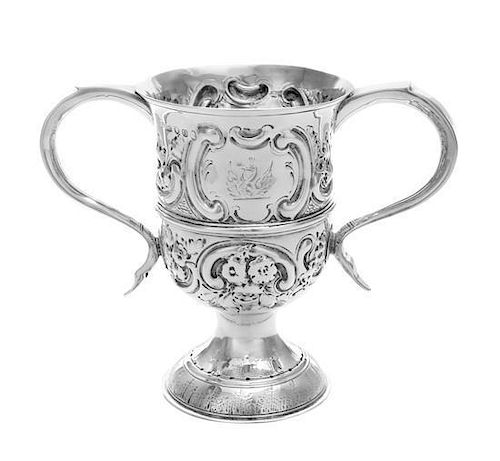 A George III Silver Loving Cup, Hester Bateman, London, 1789, worked in repousse to show C-scrolls and floral blossoms, raised o