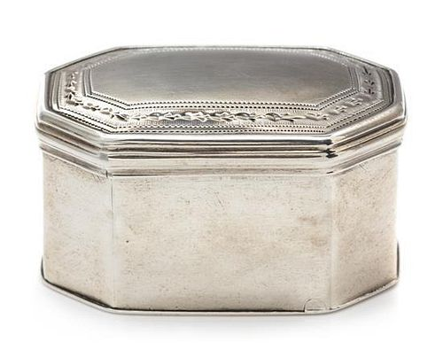 A George III Silver Nutmeg Grater, Hester Bateman, London, 1790, of rectangular form with canted corners.