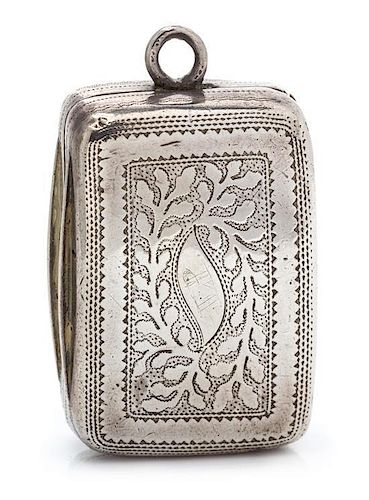 A George III Silver Vinaigrette, Joseph Taylor, Birmingham, 1814, the lid having foliate decoration and centered by a monogramme