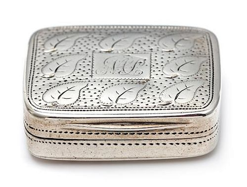 A George III Silver Vinaigrette, Matthew Linwood, Birmingham, 1810, the lid decorated with foliate and stippled decoration cente