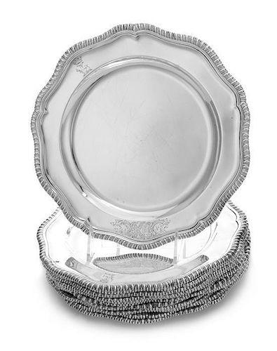 A Set of Twelve Irish George III Silver Dinner Plates, Robert Calderwood, Dublin, Circa 1762, each having an undulating gadroone