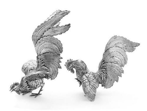 Two Italian Silver Table Ornaments, , each in the form of a gamecock.
