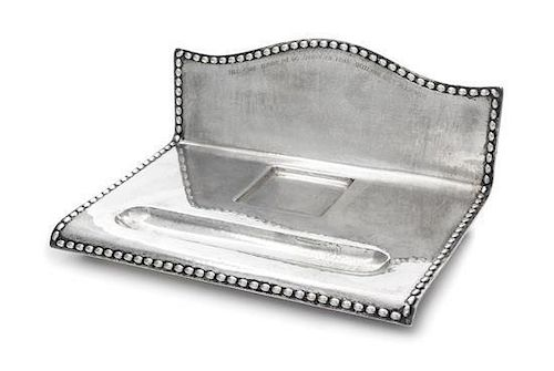 * A Swedish Silver Inkstand, G.B. Hallberg, Stockholm, 1924, of rectangular form with a domed backplate, the spot-hammered surfa
