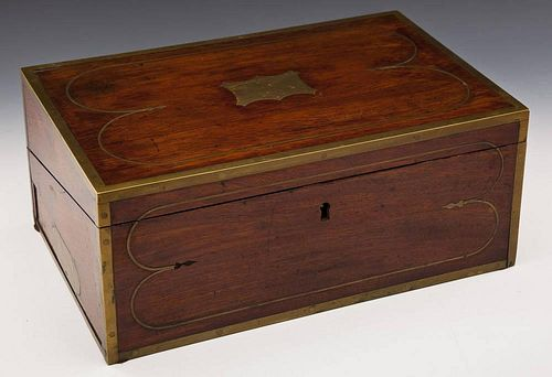 Antique Wood Lap Desk with Brass Inlay