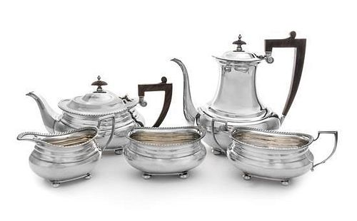 An American Silver Five-Piece Coffee and Tea Service, Gorham Mfg. Co., Providence, RI, 20th Century, comprising a coffee pot, a