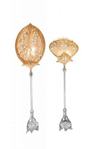 Two American Silver Serving Spoons, Gorham Mfg. Co., Providence, RI, Circa 1865, Morning Glory pattern, retailed by Tiffany & Co