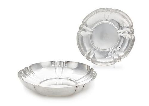 * A Pair of American Silver Bowls, Cellini Craft, Ltd., Chicago, IL, 1920, each of circular form having lobed sides and a lightl