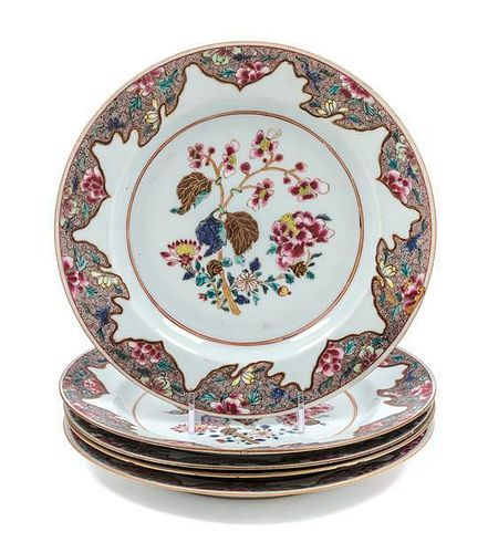 * Five Chinese Export Famille Rose Porcelain Plates Diameter 9 inches.