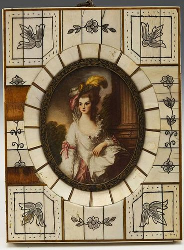 Miniature Portrait of Lady in Ivory Frame