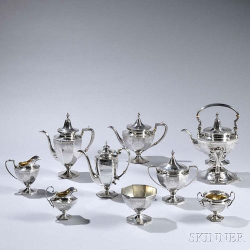 Nine-piece Roger Williams Silver Co. Sterling Silver Tea and Coffee Service