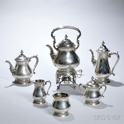 Six-piece Shreve & Co. Sterling Silver Tea and Coffee Service