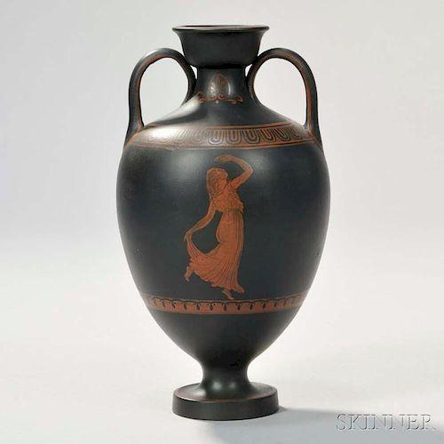 Wedgwood Encaustic Decorated Black Basalt Amphora Vase By Skinner