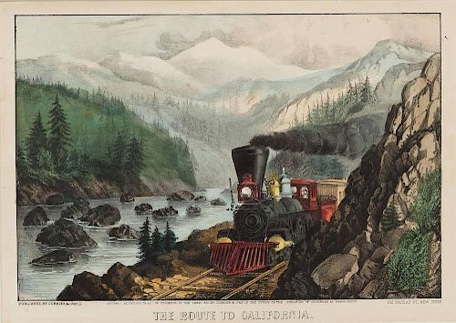 1871 Currier & Ives The Route to California Print