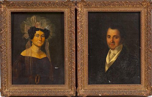 Pair of Early 19th C Portraits by Mejanel