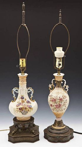 Pair of Royal Worcester Style Lamps