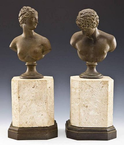 Pair Classical Style Busts with Stone Bases