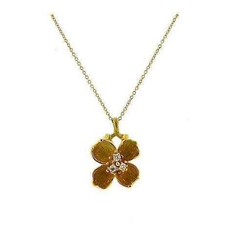 Tiffany Amp Co 18k Gold Diamond Dogwood Flower Pendant Necklace By