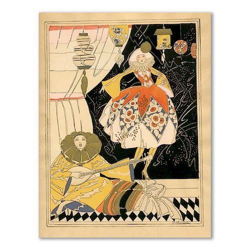 J. Chauvin, Pierrot With A Dancing Woman, Art Deco Pochoir, 1920's