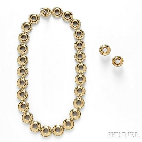 18kt Gold and Sterling Silver Necklace and Earrings, Paloma Picasso, Tiffany & Co.