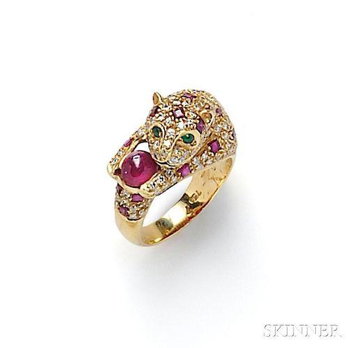 18kt Gold Gem-set Leopard Ring