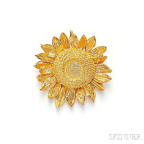 18kt Gold Sunflower Brooch, Asprey