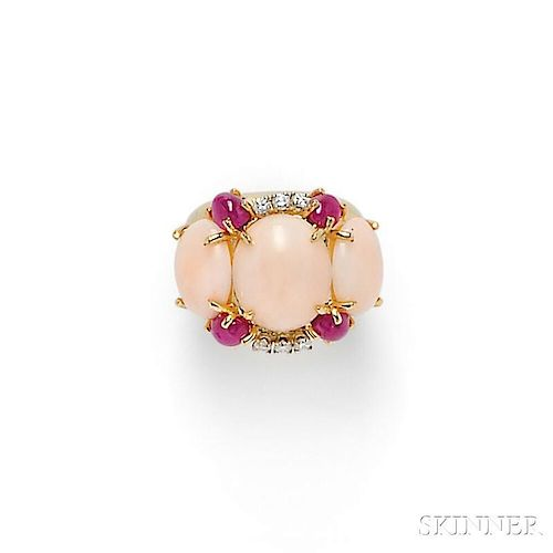 18kt Gold, Angelskin Coral, Ruby, and Diamond Ring, Emis