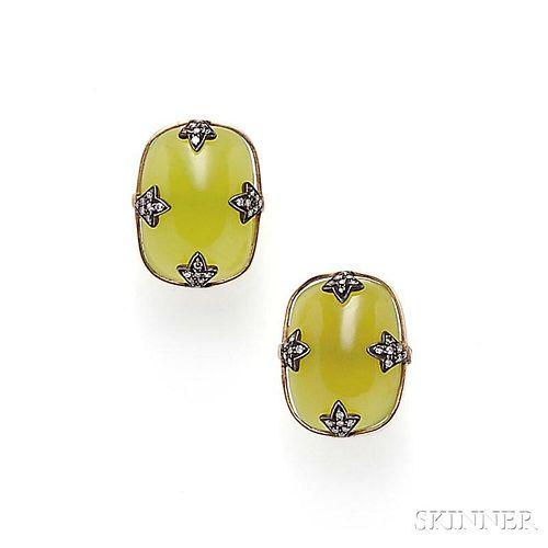 14kt Gold, Hardstone, and Diamond Earrings