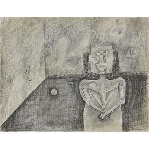 "Attributed to: Rufino Tamayo, Mexican (1899 -1991) Charcoal on paper ""Figure In A Room"""