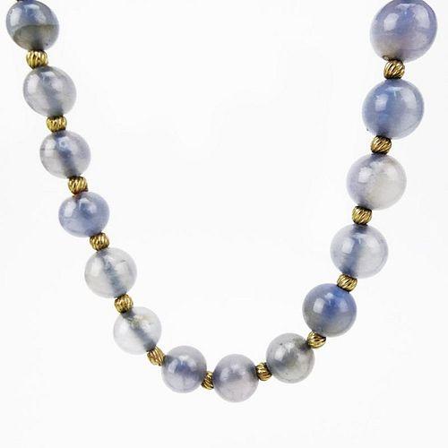 Vintage Chalcedony Quartz Bead Necklace