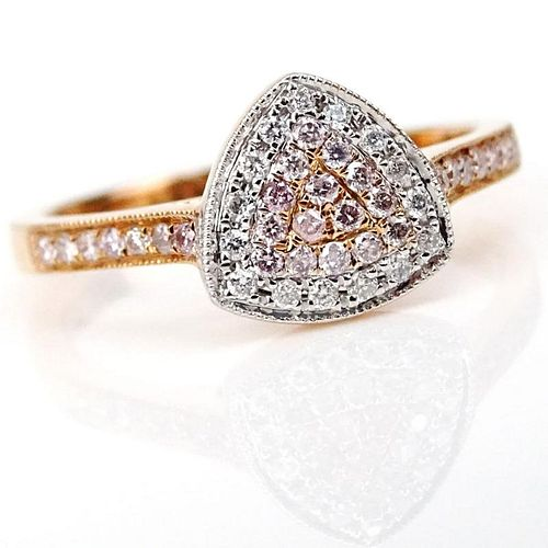 .19 Carat Round Cut Natural Pink Diamond, .08 Carat Round Cut Diamond and 18 Karat Rose Gold Ring