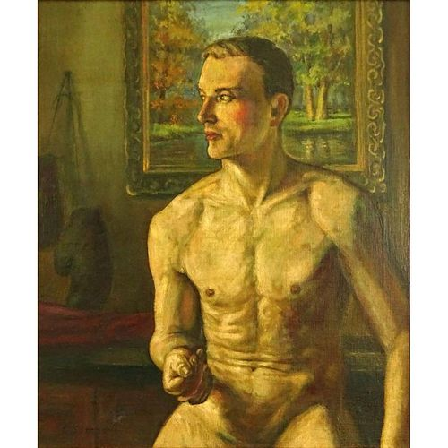 Attributed to: Konstantin Andreevich Somov (RUSSIAN, 1869-1939) Oil on Canvas, The Boxer