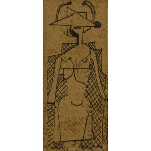 Georges Valmier, French (1885-1937) Ink on Card, Cubist Sketch