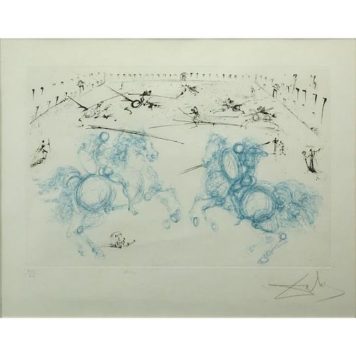"""Salvador Dali, Spanish (1904-1985) Color Etching, Aquatint, and Dry Point """"Chevalier Combat"""" (Knightly Combat)"""