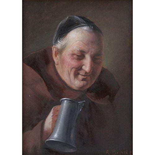 "Alois Binder, German (1857-1933) Oil on panel ""Friar With Stein"""