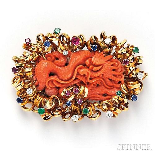 18kt Gold, Carved Coral, and Gem-set Brooch
