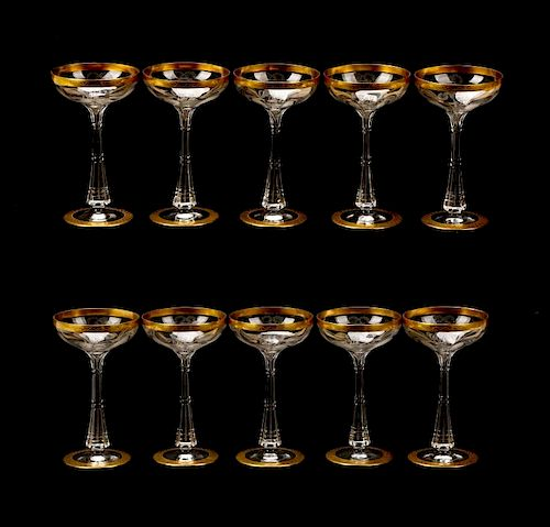10 Moser Crystal Champagne Coupes, Horace E Dodge by Ahlers