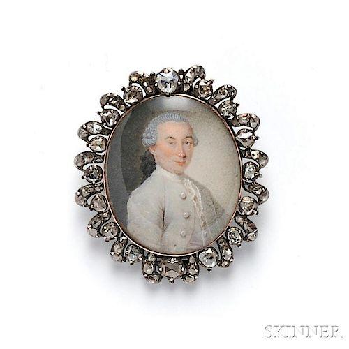 Antique Portrait Miniature and Diamond Pendant