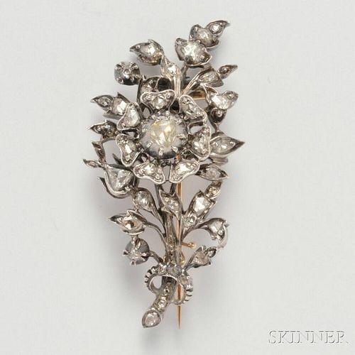Antique Rose-cut Diamond Flower Brooch
