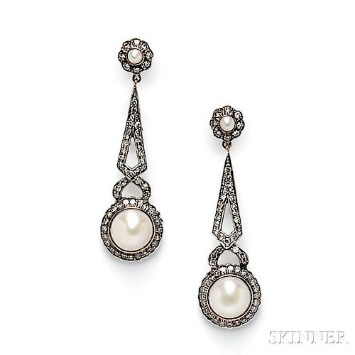 Split Pearl and Diamond Earpendants