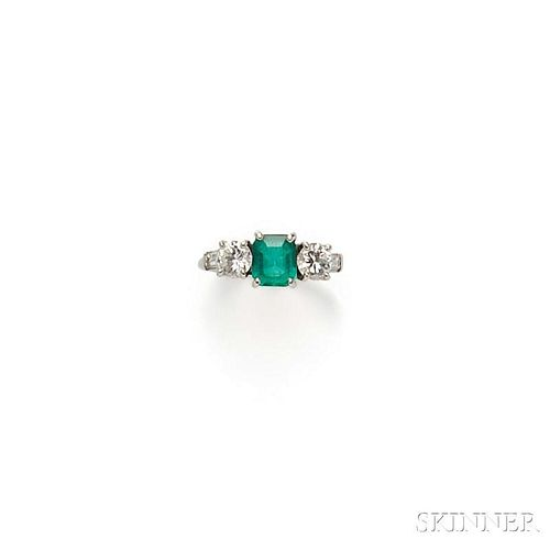 Platinum, Emerald, and Diamond Ring, Maurice Tishman, Inc.