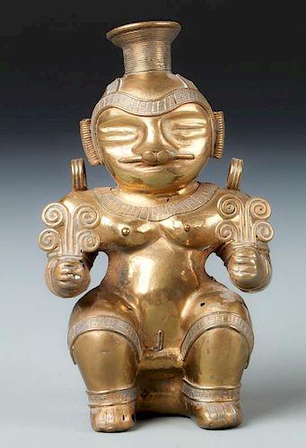 Tairona Gold Alloy Female Statue (1000-1500 CE)