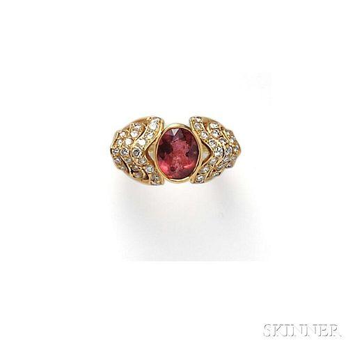 18kt Gold, Pink Tourmaline, and Diamond Ring