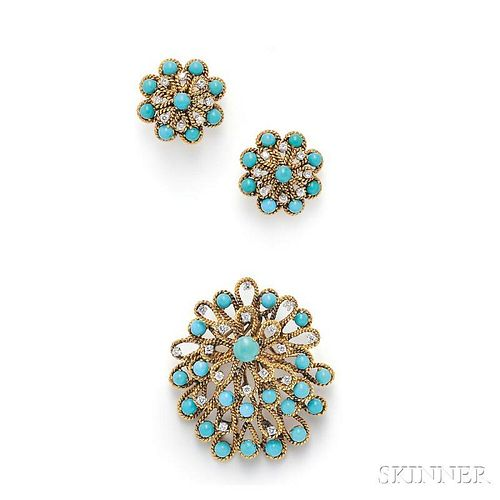 18kt Gold, Turquoise, and Diamond Suite