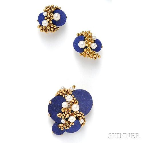 18kt Gold, Lapis, and Cultured Pearl Suite, Grosse