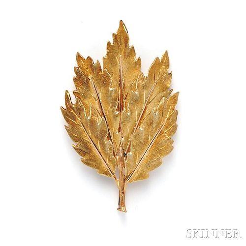 18kt Gold Leaf Brooch, Mario Buccellati