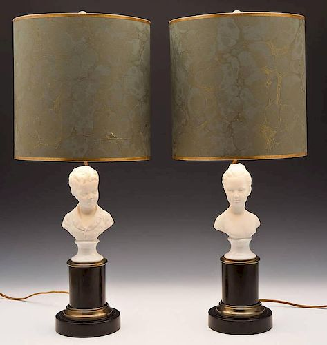 Pair of Bisque Figural Table Lamps with Shades